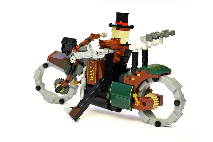 LEGO MOC - Steampunk Machine - Thomas Watts' Steam Motorcycle (Miniland): <br>Asynchronous two-cylinder engine with superheat can reach speeds up to 30 miles per hour.<br>
