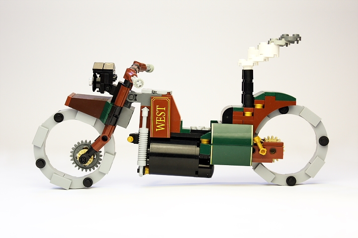 LEGO MOC - Steampunk Machine - Thomas Watts' Steam Motorcycle (Miniland): <br>Reinforced boiler sustains steam pressure up to 20 atmospheres.<br>