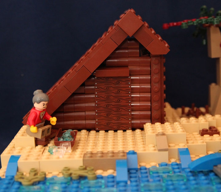 LEGO MOC - Russian Tales' Wonders - The Tale of the Fisherman and the Fish (A.S.Pushkin): Бабка размышляет над бренностью мира над корытом которое активно протекает.