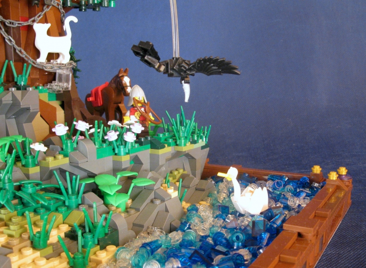 LEGO MOC - Russian Tales' Wonders - A green oak-tree by the lukomorye: Царевна-лебедь.