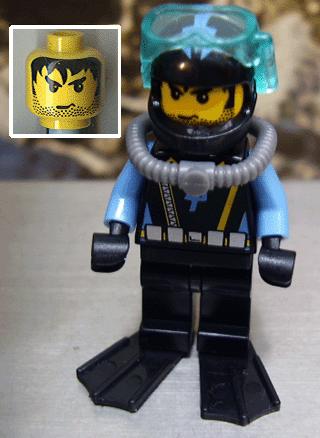 Lego mini figure 4 Black Diver flippers Scuba