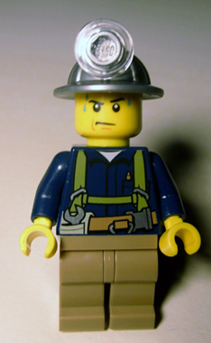 Lego Mini Figure Miner in Harness with Wrench - City cty0311