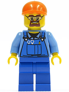 red hard hat /& Broom Blue Overalls LEGO Town City worker builder Minifigure