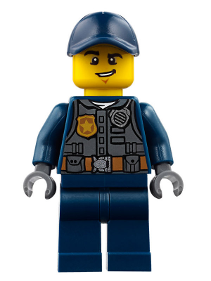 LEGO Minifig Police Hat Dark Blue with Gold Badge Minifigure Officer Headgear
