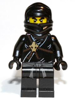 Lego Ninjago Black Minifig Torso Brown Rope Gold Medallion Black Undershirt Cole