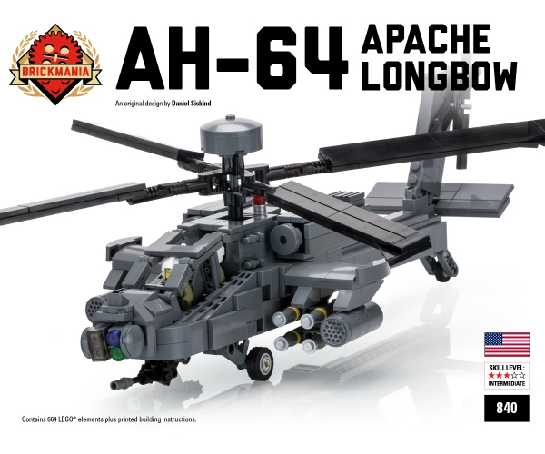 Bricker - Construction Toy by Brickmania 840 AH-64 Apache Longbow