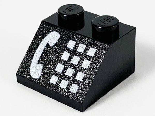 LEGO Black Slope 45 2 x 2 with Phone White Pattern 2150 6549 2881 4031 4555