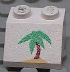 LEGO 3039pb022 @@ Slope 45 2 x 2 with Palm Tree Pattern @@ 6401
