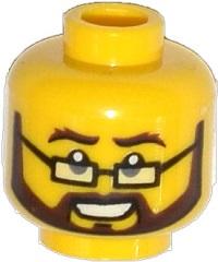 Head Rectangular Glasses Brown Beard /& Moustache Minifig LEGO Bushy Eyebrows