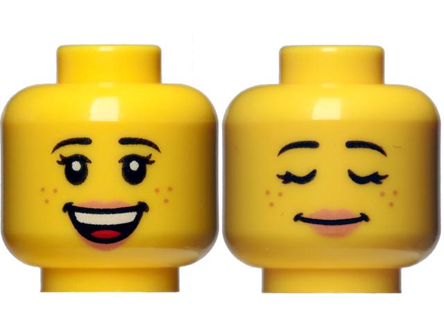 LEGO Head Hair Yellow MINIFGURE HEAD Happy DUAL SIDED Eyelashes Female Freckles