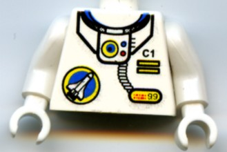 Lego New White Minifigure Torso Space with Classic Space Logo and Tubes Pattern