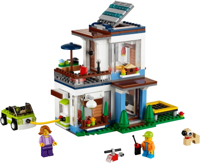 Bricker construction toy by lego 31068 modular modern home for Cuisine playmobil