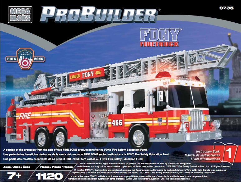 Bricker Construction Toy By Megabloks 9735 Fdny Firetruck
