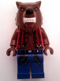 LEGO Head Modified Werewolf Minifig Reddish Brown