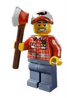 LEGO LEGO Minifig Utensil Axe with Red Head // Silver Blade Reddish Brown