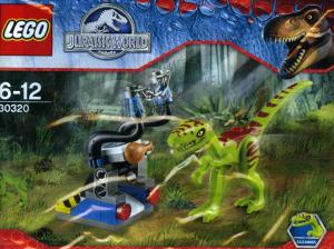 Lego Lime Dino Coelophysis with Dark Red Markings and White Eyes Gallimimus